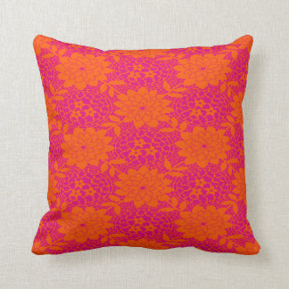 Pink and Orange Flowers Pillow Throw Cushion