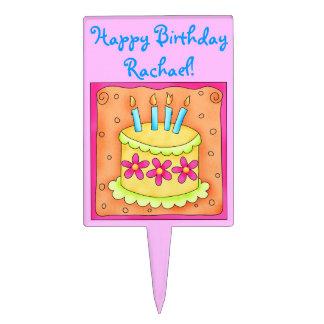 Pink and Orange Happy Birthday Cake Topper