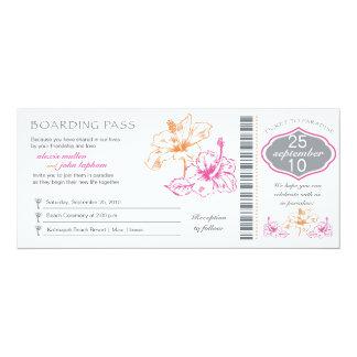 Pink and Orange Hibiscus Boarding Pass Wedding Card