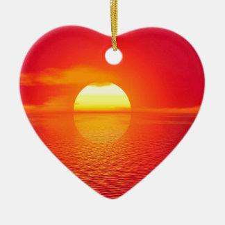 Pink and Orange Indian Ocean Sunset Ceramic Heart Decoration