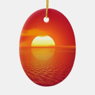 Pink and Orange Indian Ocean Sunset Ceramic Oval Decoration