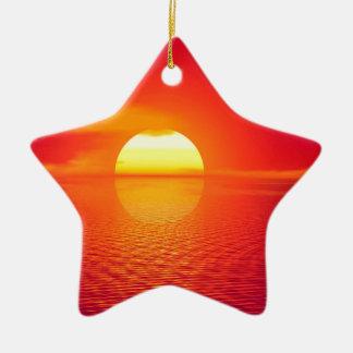 Pink and Orange Indian Ocean Sunset Ceramic Star Decoration