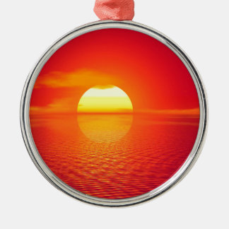 Pink and Orange Indian Ocean Sunset Silver-Colored Round Decoration
