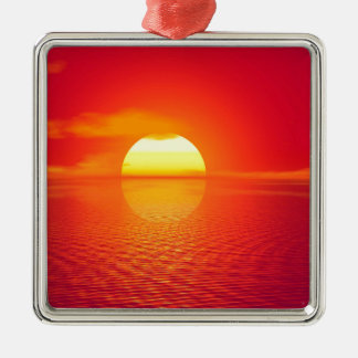 Pink and Orange Indian Ocean Sunset Silver-Colored Square Decoration