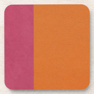 Pink and Orange Leather Look Coaster