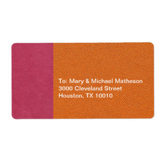 Pink and Orange Leather Look Shipping Label