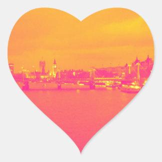Pink and Orange London scene Heart Sticker