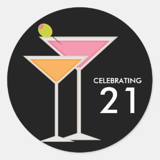 Pink and Orange Martinis Classic Round Sticker