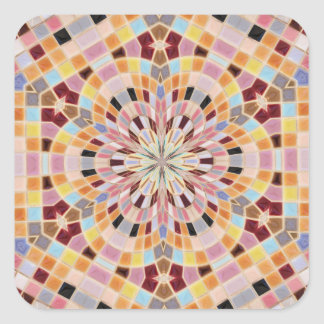 Pink and Orange Mosaic Kaleidoscope Square Sticker