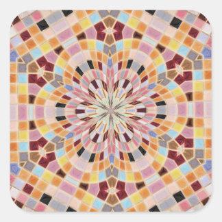 Pink and Orange Mosaic Kaleidoscope Square Sticker