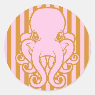 Pink and Orange Octopus Round Sticker