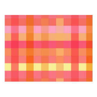 Pink and orange plaid post cards