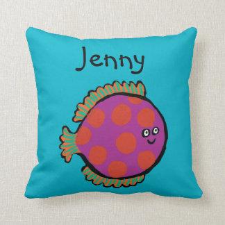 Pink and Orange Polka-Dot Fish Cushion