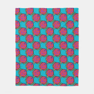 Pink and Orange Polka-Dot Fish Fleece Blanket