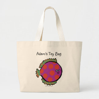 Pink and Orange Polka-Dot Fish Large Tote Bag