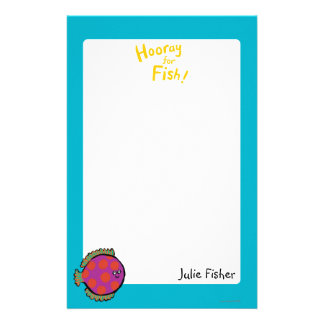 Pink and Orange Polka-Dot Fish Personalized Stationery
