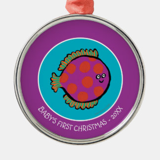 Pink and Orange Polka-Dot Fish Silver-Colored Round Decoration