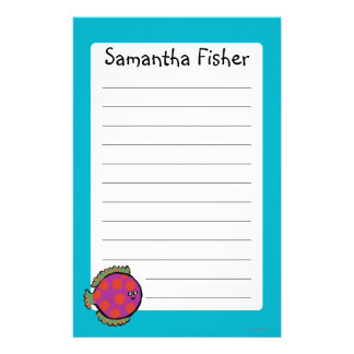 Pink and Orange Polka-Dot Fish Stationery Paper