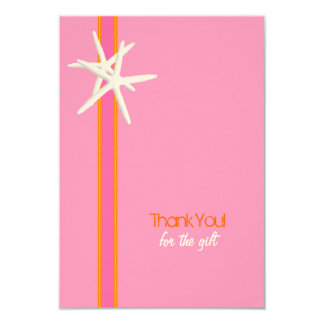 Pink and Orange Starfish Small Thank You Cards 9 Cm X 13 Cm Invitation Card
