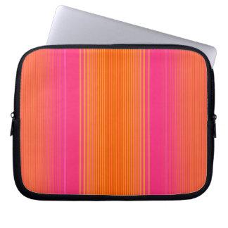 Pink and Orange Striped Pattern Laptop Sleeve