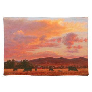 Pink and Orange Sunset 1 Sided Cotton Placemat