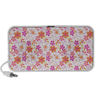 Pink and Orange Tropical Flower Pattern Mp3 Speakers