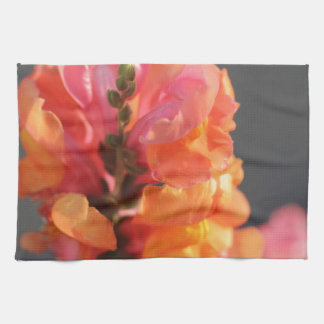 Pink and orange tropical flowers tea towel