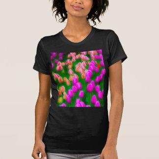 Pink and orange tulip floral design t-shirt