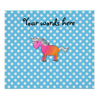 Pink and orange unicorn on blue polka dots print
