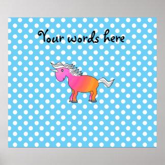 Pink and orange unicorn on blue polka dots print