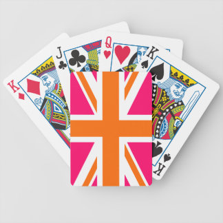 Pink and Orange Union Jack Bicycle Playing Cards