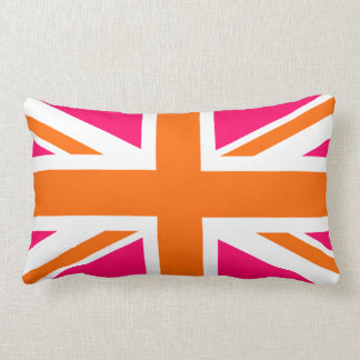 Pink and Orange Union Jack Lumbar Cushion