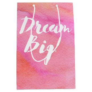 Pink and Orange Watercolor Dream Big Medium Gift Bag