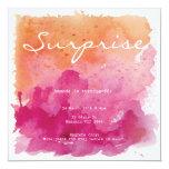 Pink and Orange Watercolour Surprise Birthday 13 Cm X 13 Cm Square Invitation Card