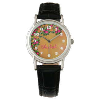 Pink and Orange Wildflowers Personalized Watch