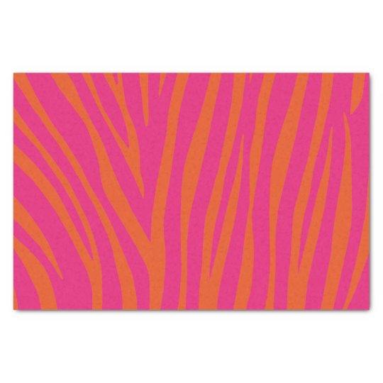 Pink and Orange Zebra Stripes Tissue Paper