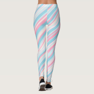 Pink and Pale Blue Candy Striped Leggings