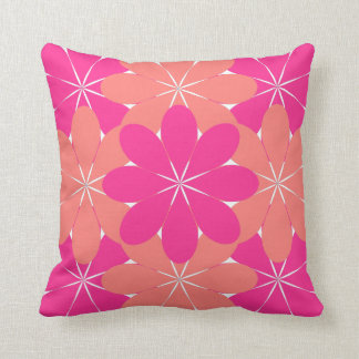 Pink and Peach Orange Flower Garden Throw Pillow