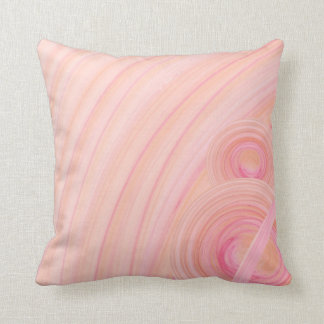 Pink and Peach Pastel Spirals Throw Cushion