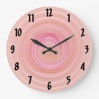 Pink and Peach Spirals Large Clock