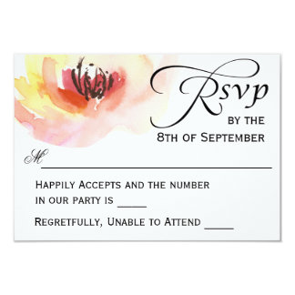 Pink and Peach Watercolor Floral RSVP 9 Cm X 13 Cm Invitation Card