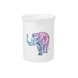 Pink and Pink Dip Dye Floral Elephant Pitcher