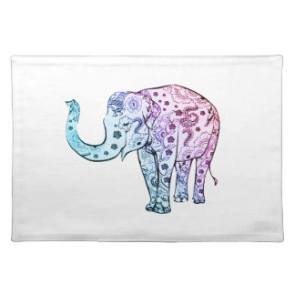 Pink and Pink Dip Dye Floral Elephant Placemat