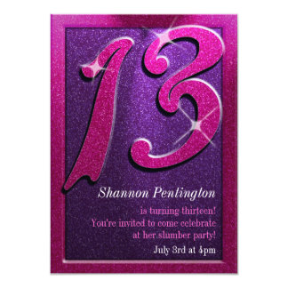 Pink and Purple 13th Birthday Party Invitations