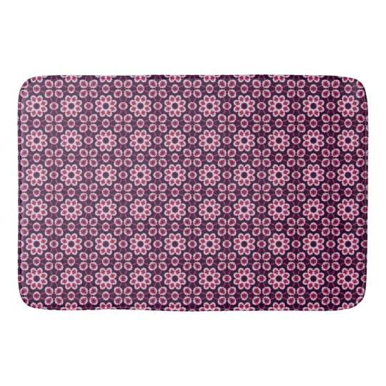 Pink And Purple Abstract Flower Pattern Bath Mats