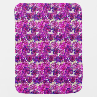 Pink And Purple Abstract Flowers Pattern Baby Blanket