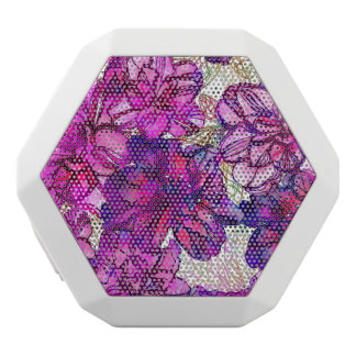 Pink And Purple Abstract Flowers Pattern White Boombot Rex Bluetooth Speaker