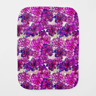 Pink And Purple Abstract Flowers Pattern Burp Cloth