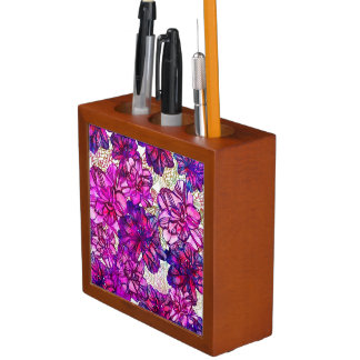 Pink And Purple Abstract Flowers Pattern Desk Organiser