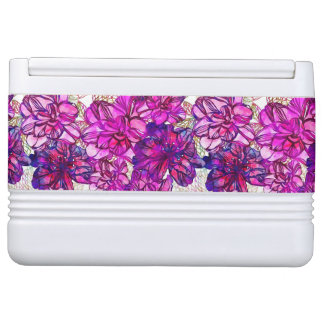 Pink And Purple Abstract Flowers Pattern Igloo Cool Box